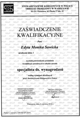 Zaświadczenie Kwalifikacyjne - Specjalista ds. Wynagrodzeń