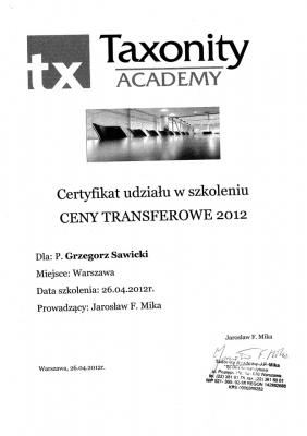 Certyfikat udziału w Szkoleniu Ceny Transferowe
