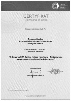 Certyfikat ukończenia szkolenia E-Comarch ERP Optima